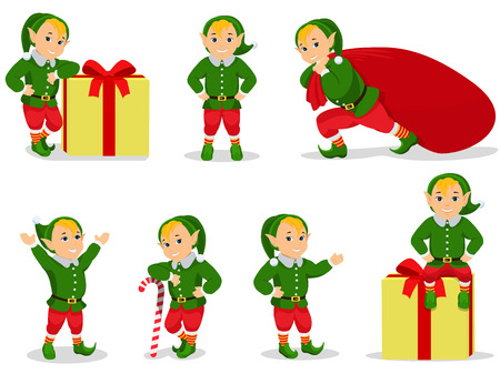 Vector illustration set of cartoon Christmas elves