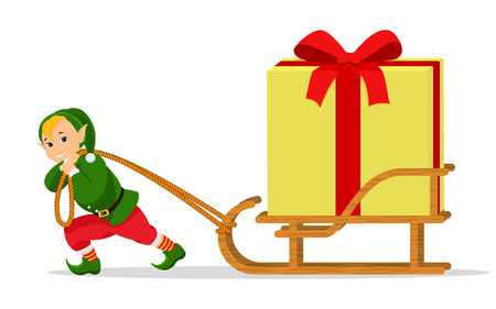 Vector cartoon Christmas elf sleigh with gift box