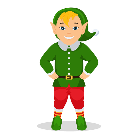 Vector illustration cartoon cute christmas elf