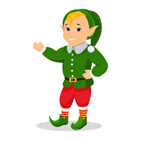 Vector cartoon christmas elf stands with hands