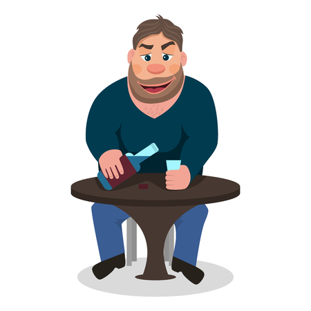 Cartoon man drinking alcohol vector illustration.