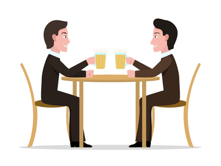 Vector illustration of two cartoon men drinking alcohol. Isolated white background. Businessmen are drinking beer at the table. Friends in suits are holding glasses. Flat style.