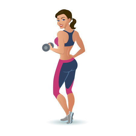 Fitness woman doing an exercise with a dumbbell.