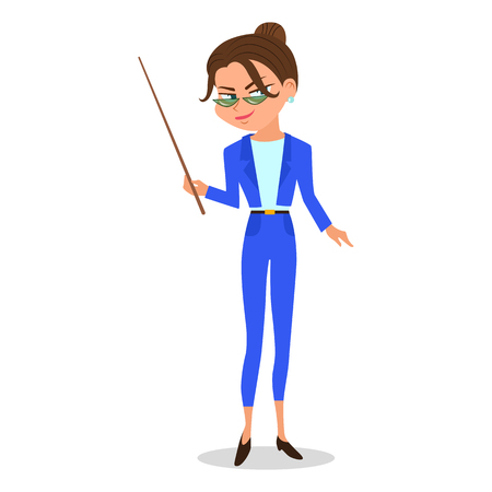 Cartoon vector woman teacher with a pointer. Çizim
