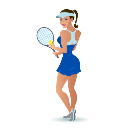 Beautiful cartoon vector woman tennis player.