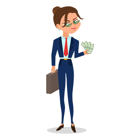Vector cartoon girl in a suit holds cash and case