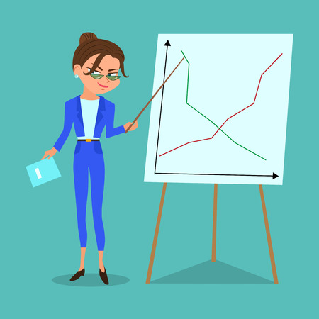Vector cartoon business woman with a pointer