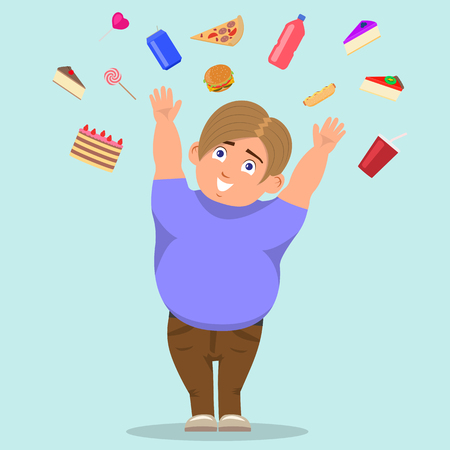 Vector illustration of a cartoon fat boy catching sweets. The concept of harmful food and childhood obesity. Flat style.