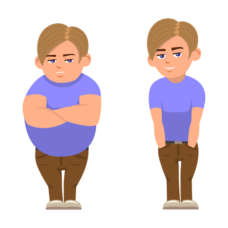 Vector illustration of a cartoon fat full and sports boy. Isolated white background. Boy before and after losing weight. Çizim