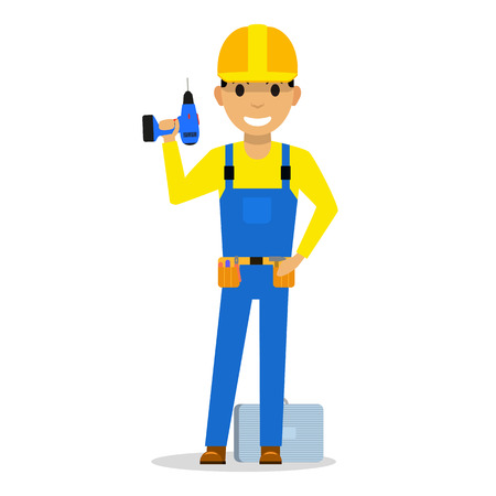 Cartoon man builder with a screwdriver vector illustration. Çizim