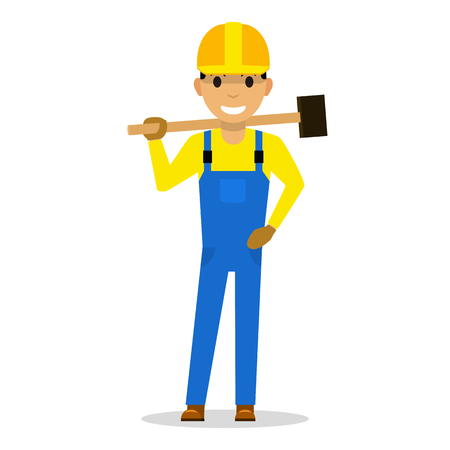Cartoon man builder with a sledgehammer vector illustration. Çizim