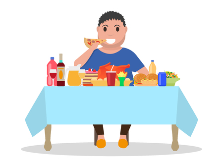 Cartoon fat man at the table vector illustration.