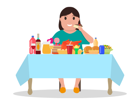 Cartoon fat woman at the table vector illustration. Çizim
