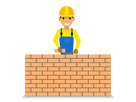 Vector cartoon bricklayer is building a brick wall Çizim