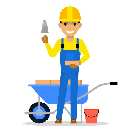Vector cartoon man bricklayer stands with a brick Stok Fotoğraf - 96374061