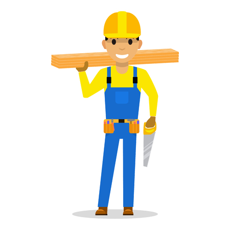 Vector carpenter with wooden boards and a saw.