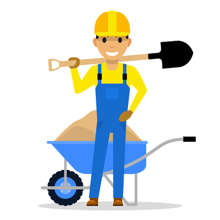 Vector cartoon character builder holding a shovel Çizim