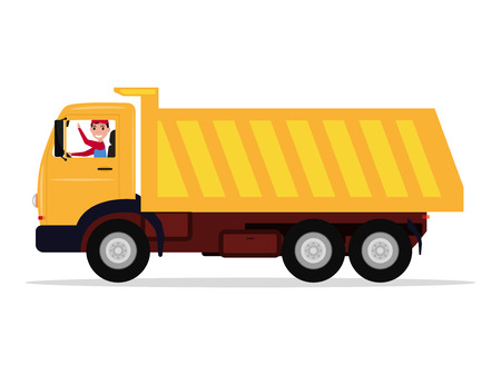 Vector cartoon driver rides in a large truck Stock Illustratie