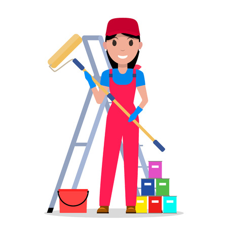 Vector cartoon woman painter with tools painting
