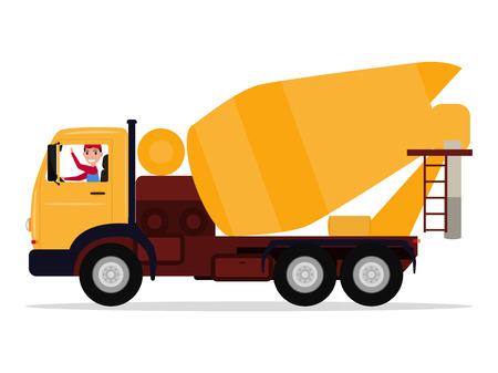 Vector illustration cartoon character driver man on a truck concrete mixer. Isolated white background. Construction automobile. Yellow auto for transportation and mixing of concrete. Flat style.