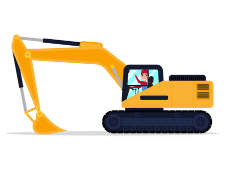 Vector illustration of a cartoon character male driver on an building machine excavator. Isolated white background. The machine is a digger. Flat style, side view.