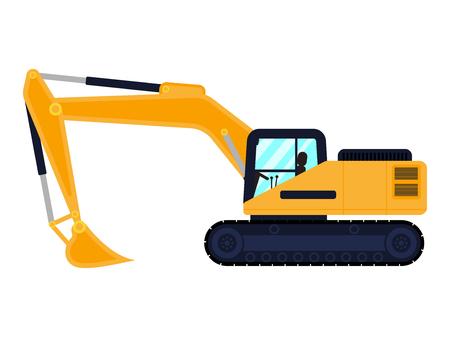 Vector cartoon building machine excavator