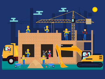 Vector cartoon builders on a construction site Çizim