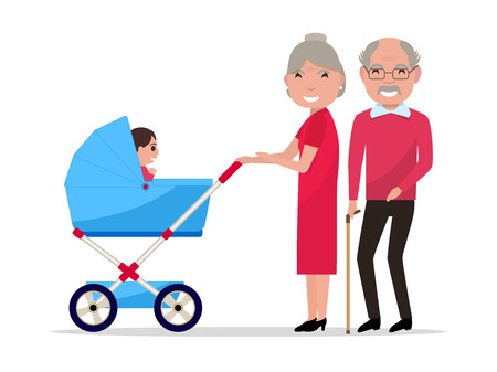 Vector illustration of cartoon character elderly man and woman with baby carriage. Isolated white background.