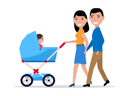 Vector couple parents with a stroller and a child