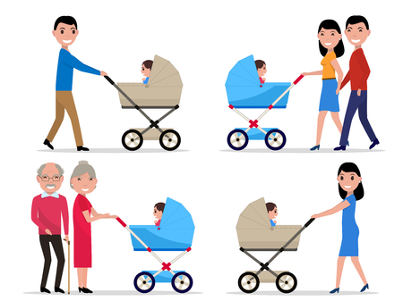 Vector characters parents with a stroller a child