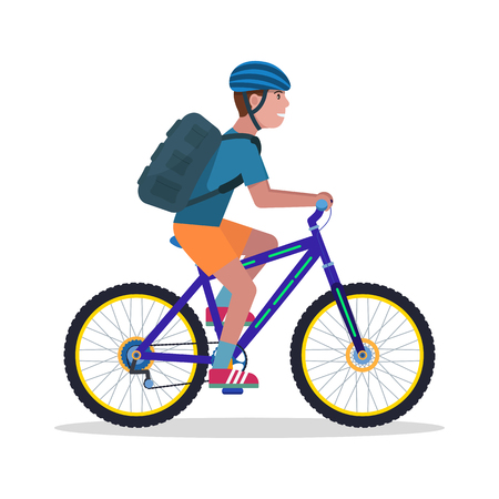 Vector illustration of a young guy with a backpack and wearing a helmet rides a mountain bike. Isolated white background. The man on a bicycle. Flat style. Çizim