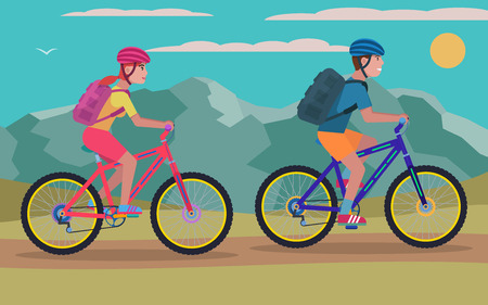 Vector illustration of a young guy and girl riding a mountain bike outdoors. A woman and a man ride a bicycle. Flat style.