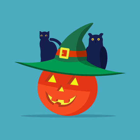 Vector illustration of a Halloween pumpkin with a hat, cat and owl sitting at the top. Flat style. Çizim