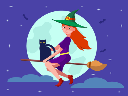 Vector illustration of a cartoon cute pretty witch on a broomstick with a black cat. Woman wizard in the hat flies on the broom against the background of the moon and the night sky. Flat style.