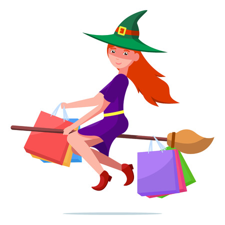 Vector illustration of a cartoon cute witch on a flown broom with packages for purchases. Isolated white background. The concept of festive Halloween sales. Flat style.