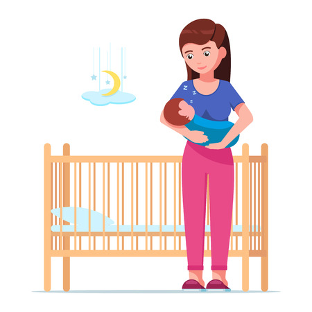 Vector illustration of a young mother laying a sleeping newborn in a cot. Woman is holding a sleeping baby in her arms next to a baby crib. Girl and a sleeping infant. Flat style.