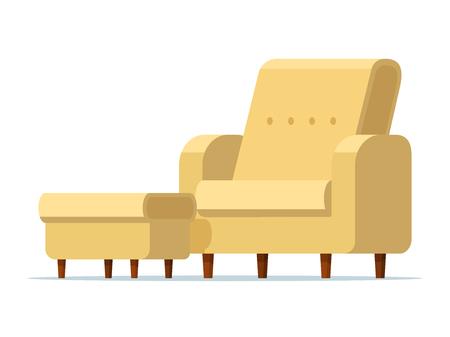 Ilustracja wektorowa jasnożółtego krzesła z wyściełanym stołkiem. Na białym tle. Pusty fotel z miękką podnóżkiem. Sofa rozkładana z podnóżkiem. Płaski styl.