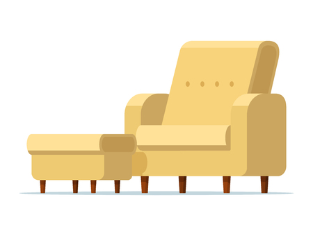 Vector illustration of a light yellow chair with a padded stool. Isolated white background. Empty armchair with a soft ottoman. Sofa chair with footstool. Flat style.