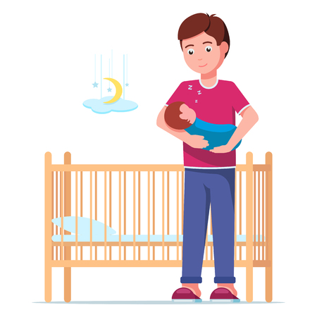 Vector illustration of a young father laying a sleeping newborn in a cot. Man is holding a sleeping baby in his arms next to a baby crib. Boy and a sleeping infant. Flat style.