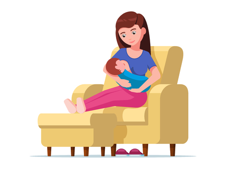 Vector illustration young mother breastfeeding sitting on a chair with a padded stool. Woman is feeding baby on an armchair with ottoman. Girl with a newborn. Flat style. Çizim