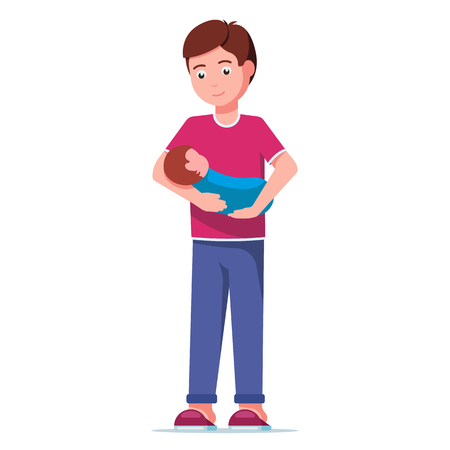 Vector illustration young father holding a baby. Isolated white background. Man is holding a newborn in his arms.