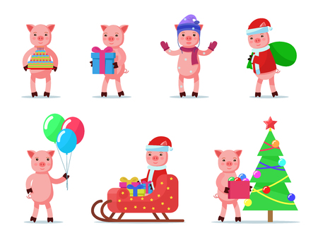 Vector illustration of a set of cute little piglets. Isolated white background. Collection of images of holiday pigs. Set of animals. Flat style.