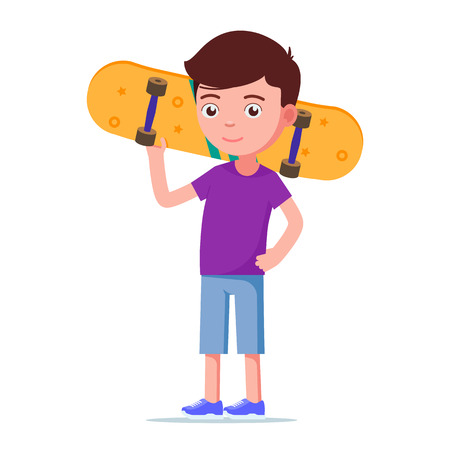Vector illustration of a cute boy with a skateboard. Isolated white background. Teenager stands and holds a skateboard behind his head. Flat style.