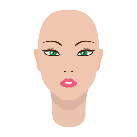 Vector illustration of a beautiful dummy girl head. Isolated white background.