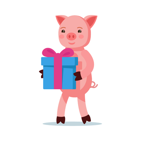 Vector illustration of a cute pink cartoon piglet coming with a gift. Isolated white background. A little piglet with a box for gifts. Flat style.