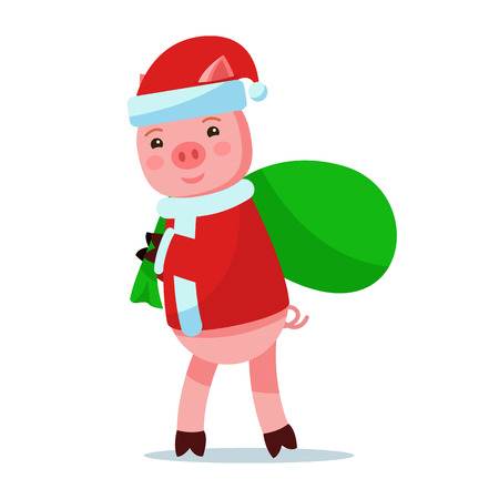 Vector illustration of a cute pink cartoon piggy in Santa Claus costume carries a bag with gifts. Isolated white background. A little pig carries a bag of presents. Flat style. Çizim