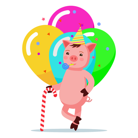 Vector illustration of a cute pink cartoon piglet standing with a cane of candy in a festive cap. A little pig against the background of balloons. A poster for a birthday. Flat style. Çizim