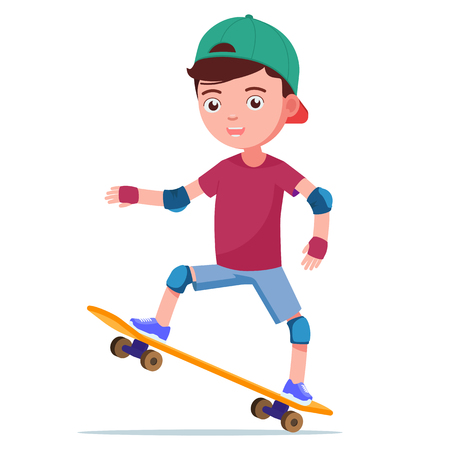 Vector illustration of a cute cartoon boy skateboarding on a skateboard. Isolated white background. The teenager in a cap and in protection for skating does a trick on a skateboard. Flat style. Çizim