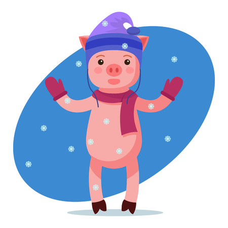Vector illustration of a cute pink cartoon piggy in hat and gloves looking at the falling snow. Isolated white background. A little pig is under the snow. Flat style.