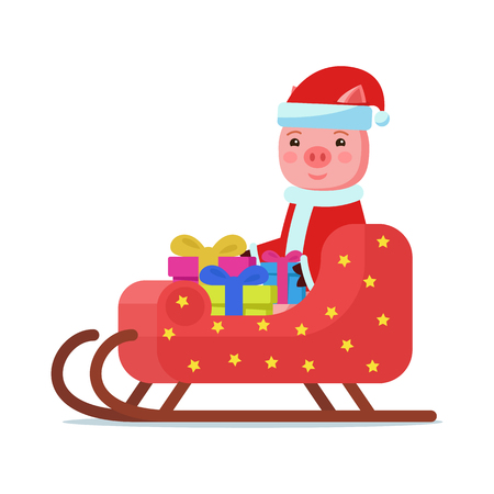 Vector illustration of cute pink cartoon piggy sitting in colorful sleigh with gifts. Isolated white background. A little pig in Santa Claus costume carries gifts in a sleigh. Flat style.